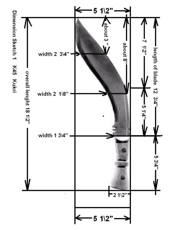 kukri pattern and measurements